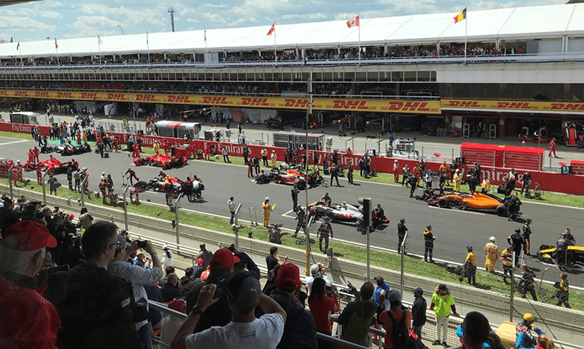 Views across F1 grid and pit lane