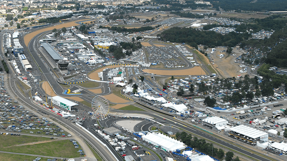 Aerial view of the circuit and hospitality